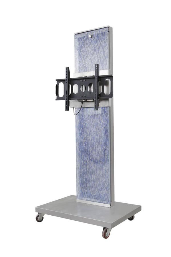 电动遥控电视机机架移动式移动式电视机机架是在导轨式电视机机架的基础上在导轨下端安装了带有轮子的可移动平台,动作及控制方式和导轨式一致,可实现在1100毫米范围内的升降,左右36度的角度调整以及前后15度的俯仰调整,所有动作均为遥控操作。此款支架还可根据需要随意改变位置。支架底座还附有可伸缩的电脑托架,正面装饰板可选用喷绘玻璃,印花树脂板等材料。是一款专为学校教学,电视会议场所以及商场,展览馆等临时需要可视设备的工作需要而开发研制的产品。